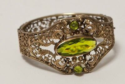 Antique Victorian Edwardian Solid Brass Faux Peridot Bangle Bracelet