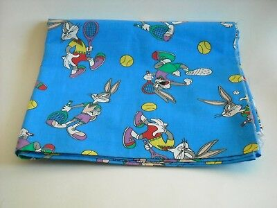 Bugs Bunny Playing Tennis NEW Blue Cotton Fabric Material 1994 Warner Brothers