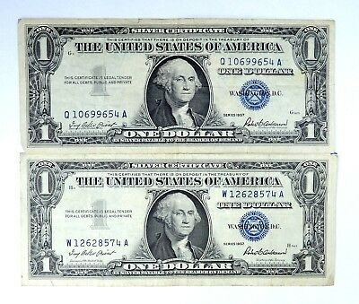 2 x 1957 Washington Dollars $1 Silver Certificate Currency Old Estate Money
