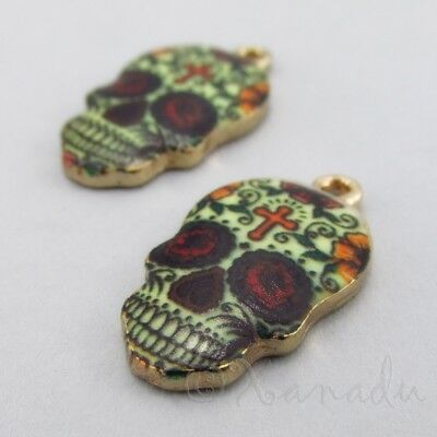 Sugar Skull Charms 22mm Gold Plated Calavera Pendants C1158 - 2, 5 Or 10PCs