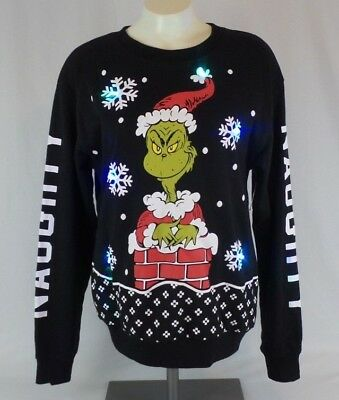 Grinch Christmas Sweater.Grinch Ugly Christmas Sweatshirt Sweater Naughty Lights Up Xs Xxxl