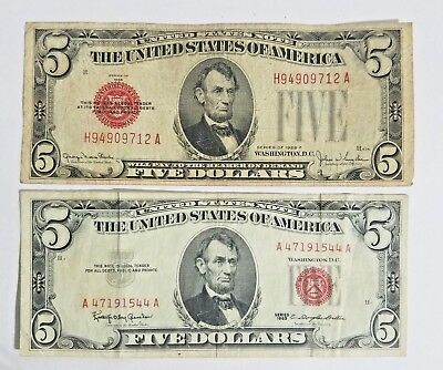 $5 Dollar Bill 1928F & 1963 Us Note Legal Tender Paper Money Red Seal Circulated