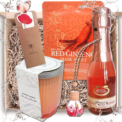 Gift Hamper for Women: Wine, Sheet Mask, Candle in Jar with Lid - Box Not Basket