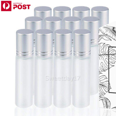 24X 10ml Frosted Clear THICK Glass Roll On Bottles Metal Roller Essential Oils