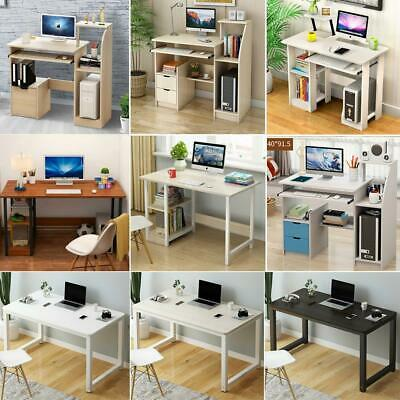 Modern Multifunction Computer Desk With Shelves PC Study Workstation Tables