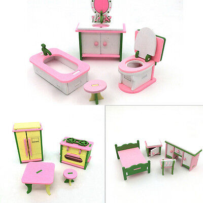 Doll House Miniature Bedroom Wooden Furniture Sets Kids Role Pretend Play Toy up