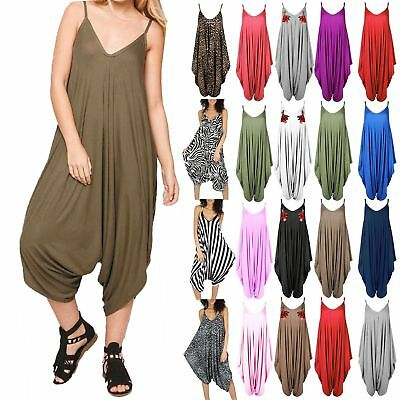 Womens Jumpsuit Ladies Cami Thin Strappy Playsuit Lagenlook Romper Baggy Harem