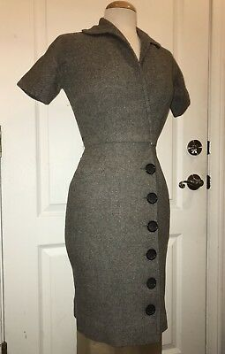 Vintage Sue Brett 1940s 1950s Gray Wool Rockabilly Pinup Wiggle Dress w/ Buttons