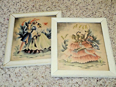 Vintage 1943 Bernard Picture Co. Shabby Chic Couples Framed Pictures