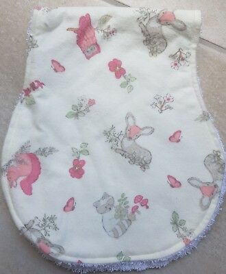 Burp Cloth. Forest Animals on Off White . Towel Back.Flannel Front. Super Soft!