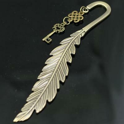 Key Ring Long Feather Bookmark Bronze Metal Bookmark Keychain Xmas Gift