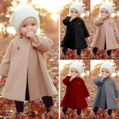 Girls Kids Baby Long Sleeved Warm Outwears Button Jacket Clothes Cloak Coat 1-5Y