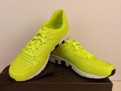 18455938746 Nib Gucci Neon Yellow Leather Ipanema Lace Up 369088 Running Sneakers 13 Us  14