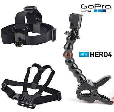 Head Strap Mount +Chesty(Chest Harness)+Jaws Flex Clamp For Gopro Hero 4 Black