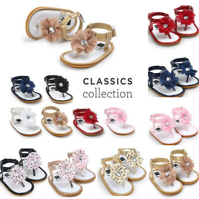 Fashion Newborn Baby Flower Pearl Sandals Toddler Princess Girl Kid Shoes H4