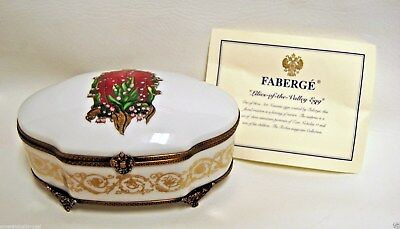 Rare Faberge Limoges France Lilies of the Valley Egg Porcelain Dresser Box