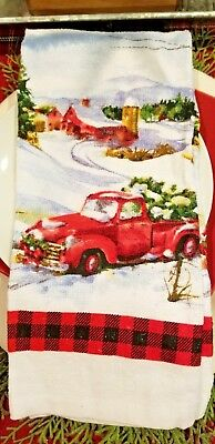 New! Christmas Red Pickup Truck Kitchen Towel Pairs W/rae Dunn Modern Farmhouse