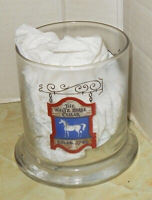 Vintage Small Glass~The White Horse Cellar~3 Crowns~Advertising