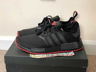 on sale 6dee6 a7ae4 ADIDAS NMD R1 Black Black Solar Red Mens sizes F35881
