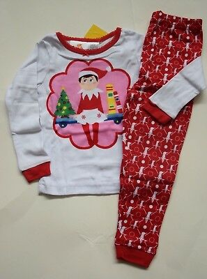 db909c00f9 NWT(2) Elf on the Shelf 2pc Christmas Holiday Red Pink Pajamas Girls size