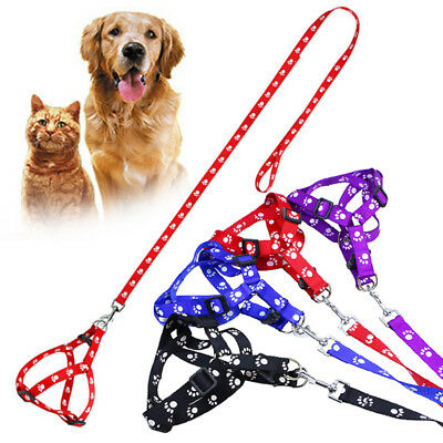 Cute Paw Print Leash Nylon Collar Adjustable For Pet Puppy Dog 3 Size Harness