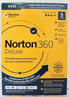 Norton Internet Security Deluxe - Antivirus 5 Devices 1Yr US&CANADA PC Card 2019