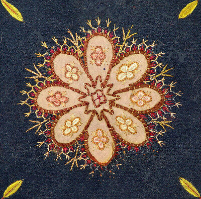 Old Oriental Rescht Silk Embroidered On  Cloth