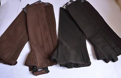 "Riders Trend Kid's Amara Plain Suede Half Chaps Brown CXL Youth XL 14"" length"