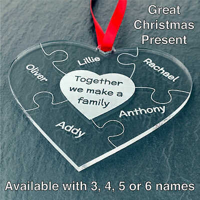 Personalised Christmas Family Heart Puzzle Tree Decoration Gift Present Mum Dad