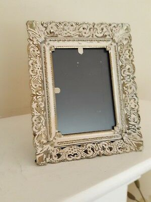 "Vintage Ornate Metal Enameled Filigree Easel Style Picture Frame 5 1/2"" x 4 1/4"""