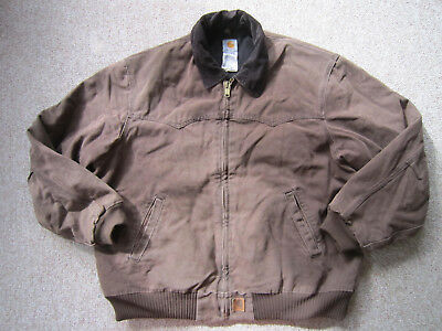Carhartt J14 Jacket Brown Quilted Lined Full Zip Coat sz Mens 2XL