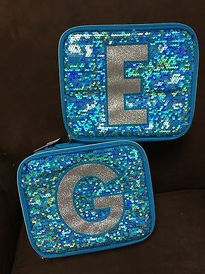 Justice Iridescent Mermaid Blue Sequins Initial (E,f,y,n) Lunchbox!!