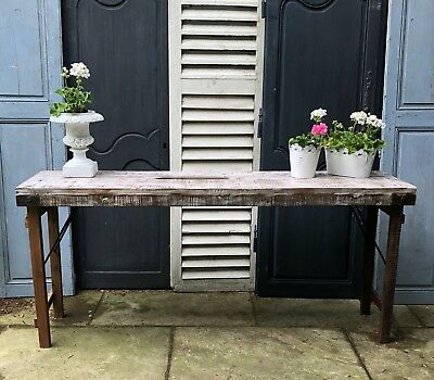 Reclaimed Wood Console Table With Folding Legs