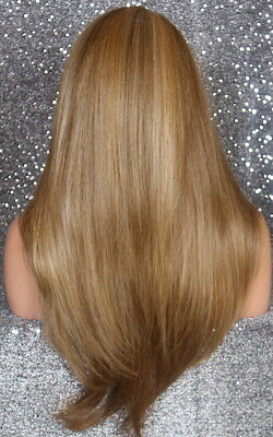 Full Body Straight Wig Side Part Blonde mix 2216 Layered Heat OK IFR