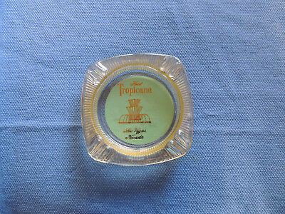 Hotel Tropicana Las Vegas NV Vintage Glass Ashtray Blue Background Gold Fountain