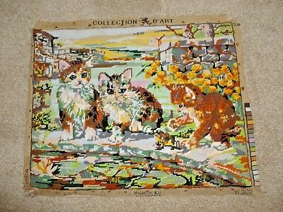 Charming vintage hand-stitched wool tapestry Kittens in Garden Collection D'Art