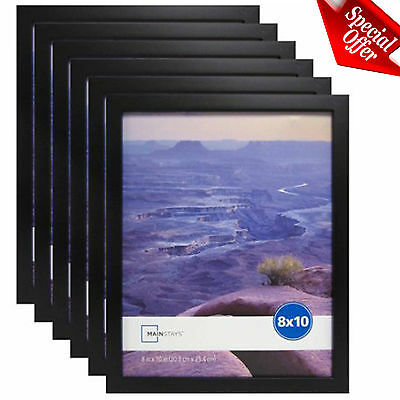 "Photo Frame Set Of 6 8x10"" Format Lot Wall Art Home Decor Black Picture Frames"