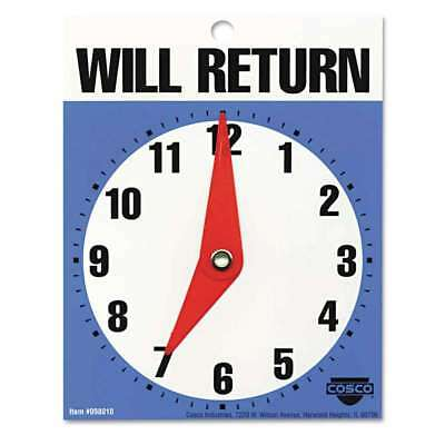 """COSCO Will Return Later Sign, 5"""" x 6"""", Blue 039956980104"""