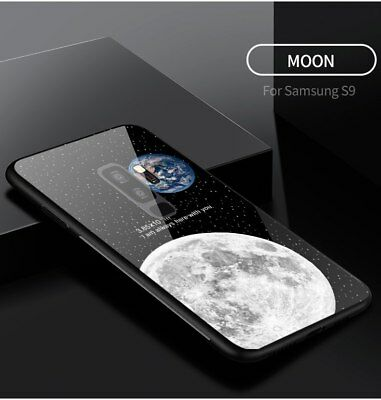Case Samsung Galaxy S9 S8 Plus Note 8 9 Tempered Glass Luxury Earth Cover Back