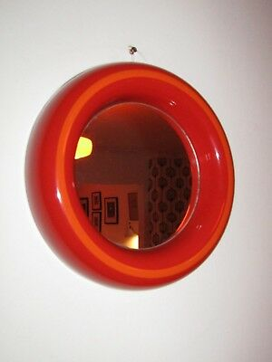 Vintage Retro Red Orange Plastic Porthole Mirror 1960s/70s Mid Century