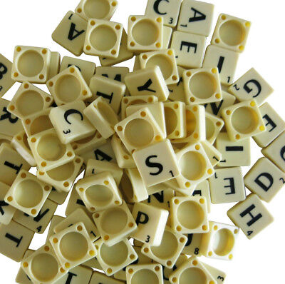 200 Plastic Scrabble Tiles Ivory Black Letters Numbers For Crafts Alphabets Play