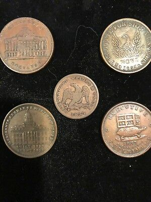Nice Group Of Hard Times Tokens Including Rare 1837 Half Cent Token