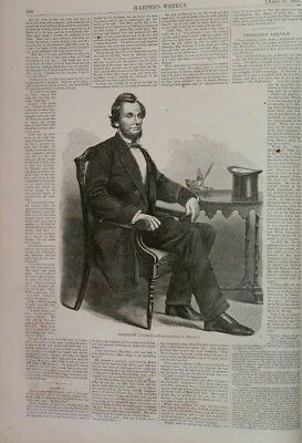 Harper's Weekly 4/27/1861 Classic Issue  War Begins!  Fort Sumter  Lincoln