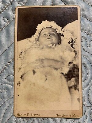 CDV Post Mortem Photograph 1860's Child with Flowers and Hands Clasp