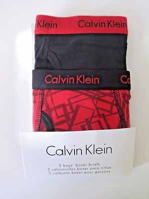 Calvin Klein Boys Boxer Briefs Size S 6/7 Black And Red Print 2 Pack