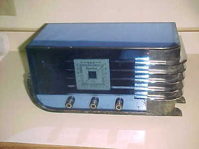 rare 1930s  SPARTON  BLUE GLASS Art Deco RADIO  Model 557  WALTER DORWIN TEAGUE