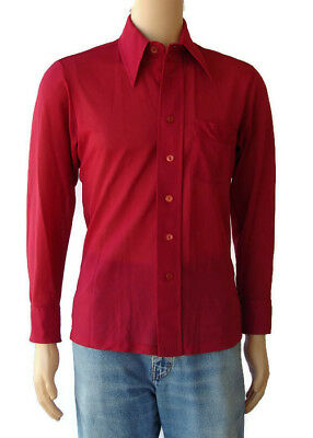 Vintage Cellini Knitwear Mens Red Long Sleeve Retro Dress Shirt Size Medium