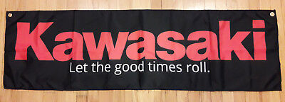 Kawasaki Banner Garage Man Cave Let The Good Times Roll Flag 58 X 17 In