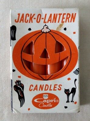 Vintage Halloween Jack-O-Lantern Candles 1965 Capri Candle Co - New Old Stock