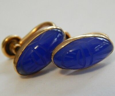 Vintage Gold Filled Genuine Carved Blue Stone Scarab Screwback Earrings